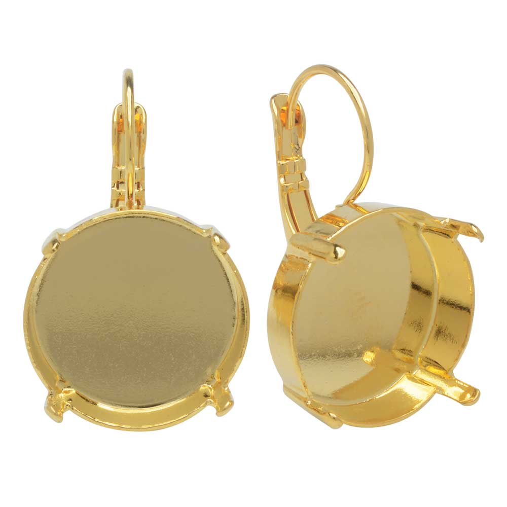 Gita Jewelry Setting for Swarovski Crystal, Leverback Earrings for 18mm Rivoli, 1 Pair, Gold Plated