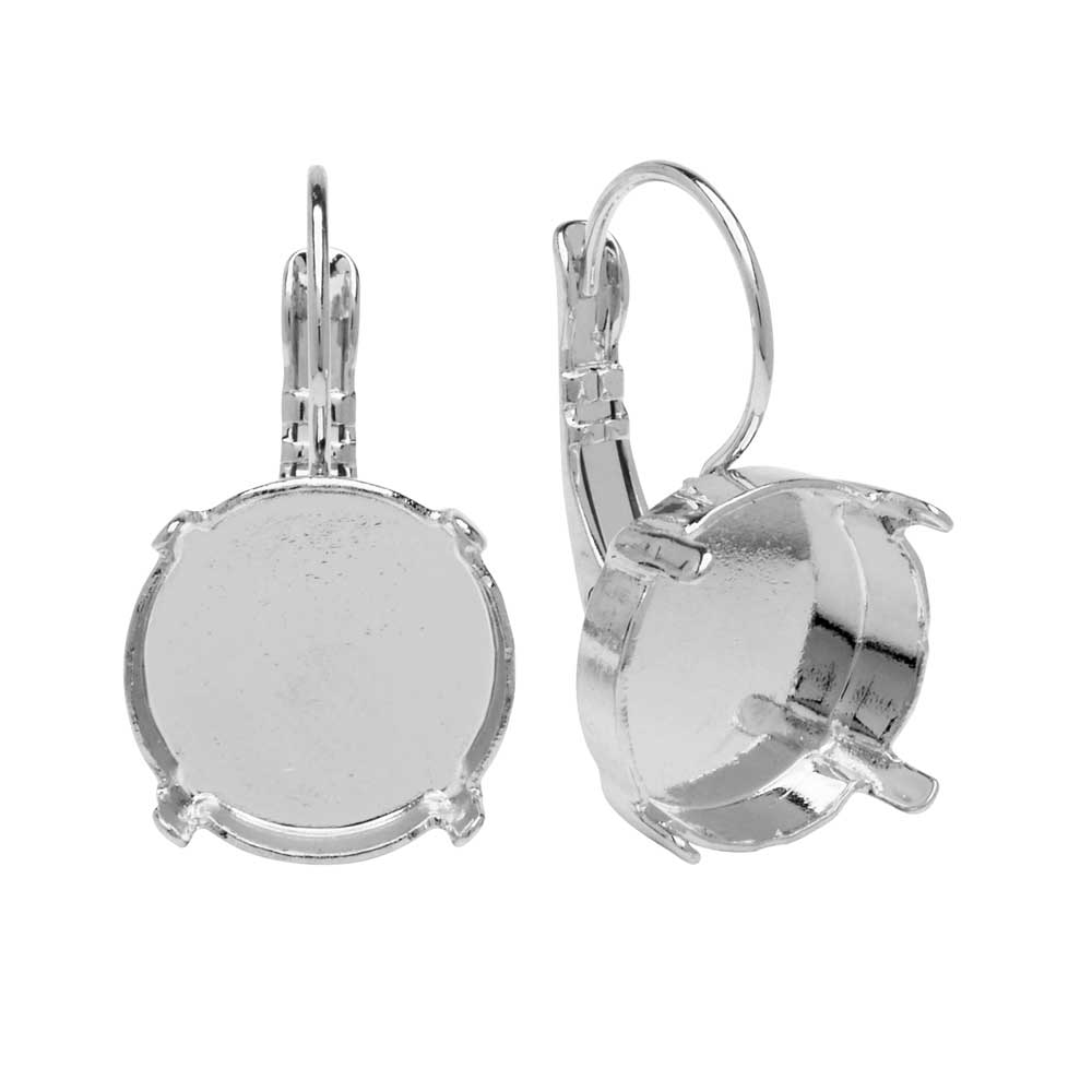 Gita Jewelry Setting for Swarovski Crystal, Leverback Earrings for 14mm Rivoli, Rhodium Plated