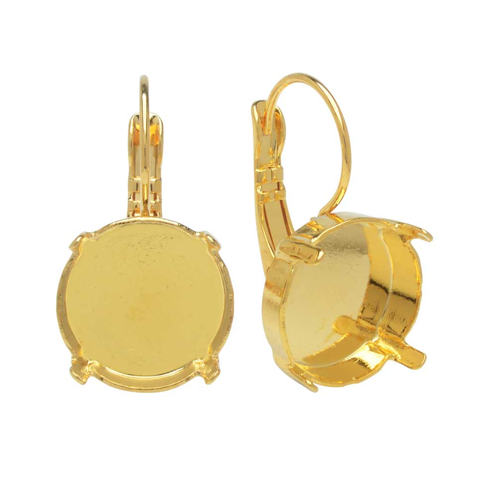 Gita Jewelry Setting for Swarovski Crystal, Leverback Earrings for 14mm Rivoli, 1 Pair, Gold Plated