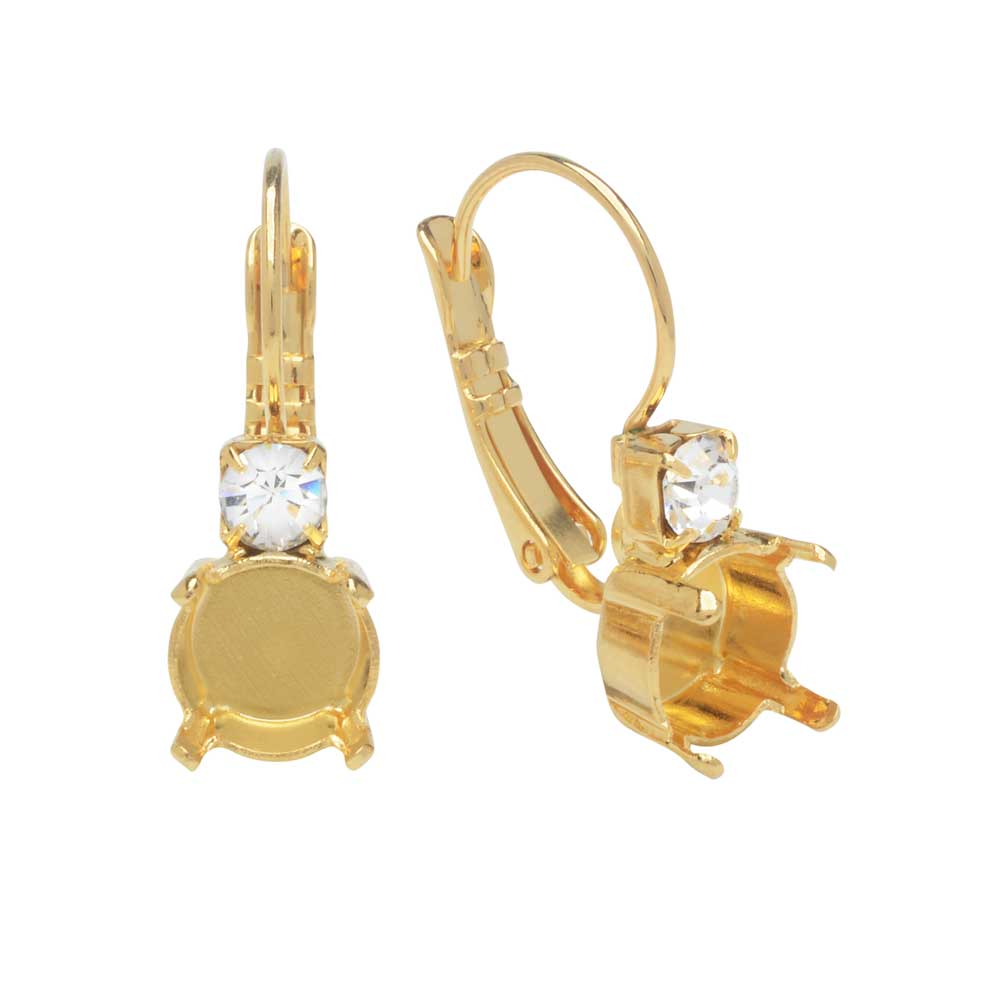 Gita Jewelry Setting for Swarovski Crystal, Leverback Earrings for SS39 Chaton, Gold Plated