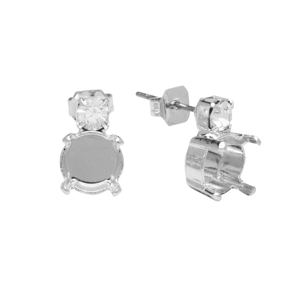 Gita Jewelry Setting for Swarovski Crystal, Stud Post Earrings for SS39 Chaton w/Crystal, Rhodium Pl