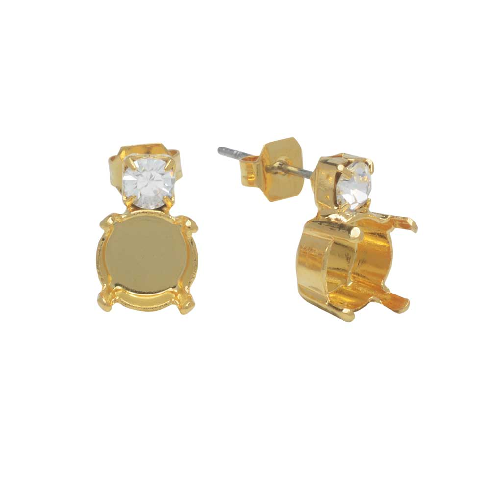 Gita Jewelry Setting for Swarovski Crystal, Stud Post Earrings for SS39 Chaton, Gold Plated