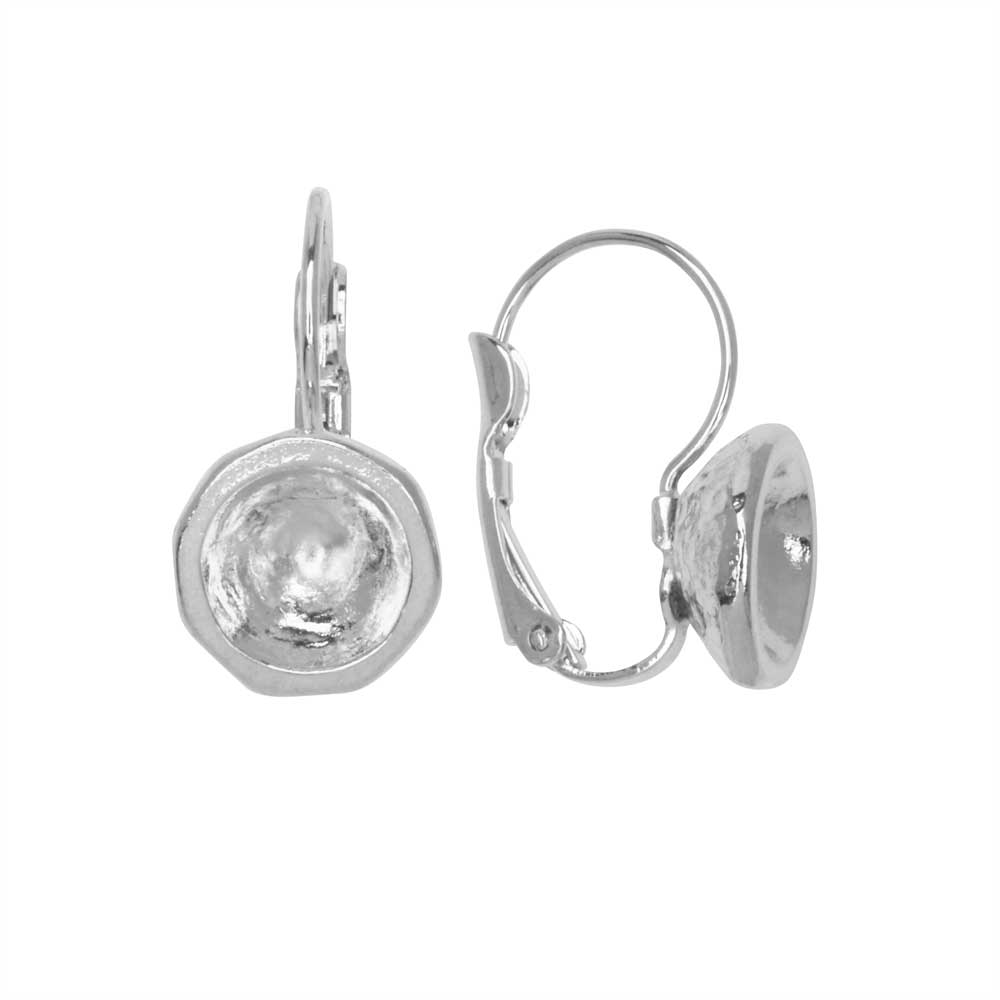 Gita Jewelry Setting for Swarovski Crystal, Leverback Earrings for SS39 Chatons, Rhodium Plated