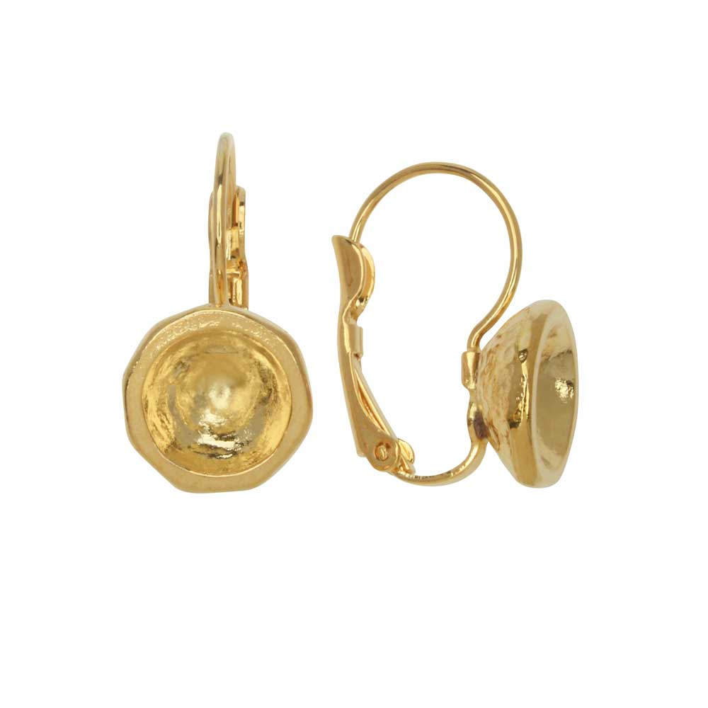 Gita Jewelry Setting for Swarovski Crystal, Leverback Earrings for SS39 Chatons, 1 Pair, Gold Plated