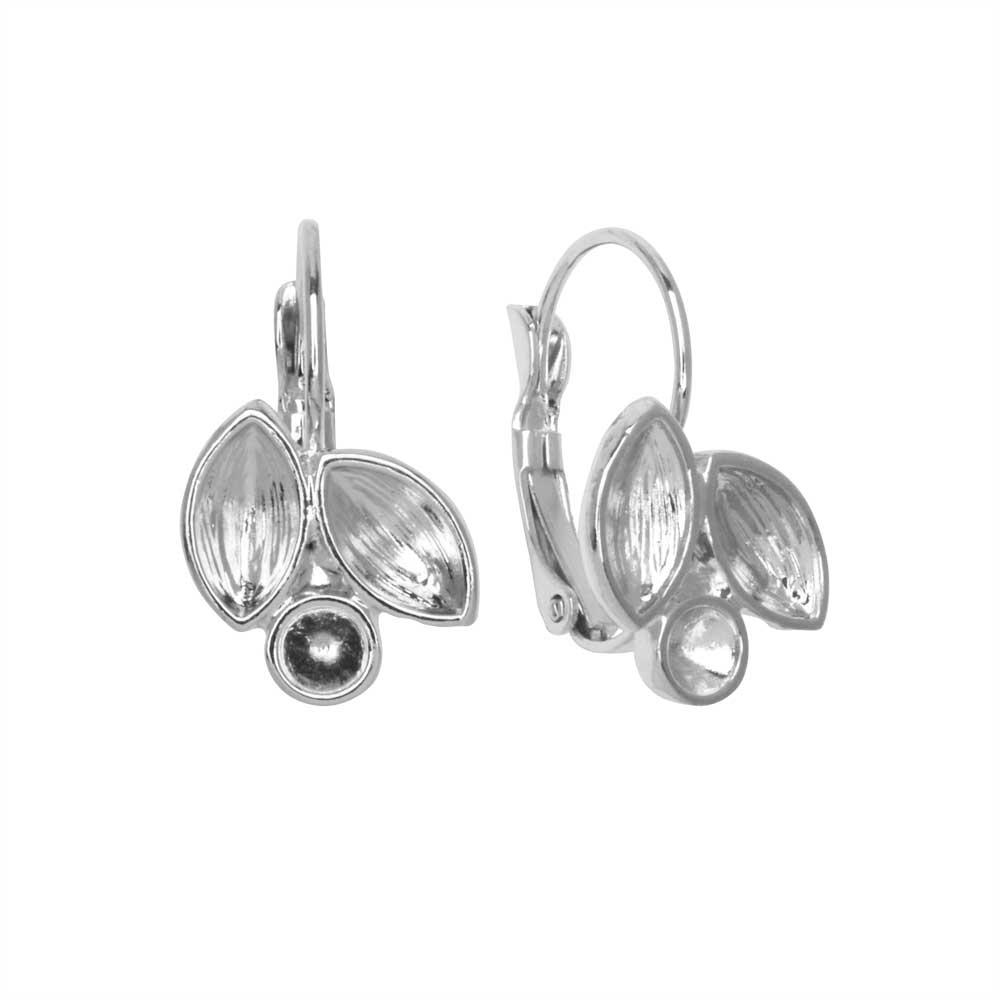 Gita Jewelry Setting for Swarovski Crystal, Leverback Earrings for PP32 & 8mm Navettes, Rhodium Plt
