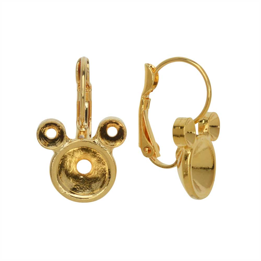 Gita Jewelry Setting for Swarovski Crystal, Mouse Leverback Earrings, SS39, PP32 Chatons, Gold Plate