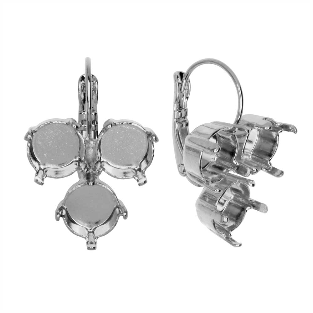 Gita Jewelry Setting for Swarovski Crystal, Inverted TriangleEarrings for SS39 Chatons, Rhodium Plt