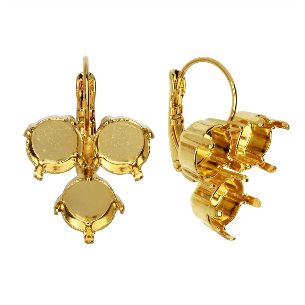 Gita Jewelry Setting for Swarovski Crystal, Inverted Triangle Earrings for SS39 Chatons, Gold Plt