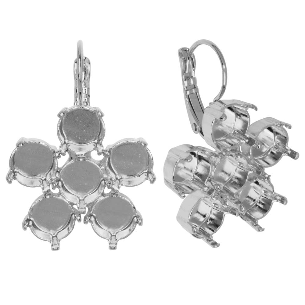 Gita Jewelry Setting for Swarovski Crystal, Flower Leverback Earrings, SS39 Chatons, Rhodium Plated