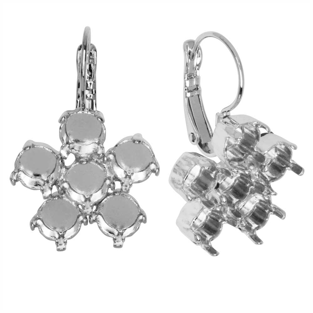Gita Jewelry Setting for Swarovski Crystal, Flower Leverback Earrings, SS29 Chatons, Rhodium Plated