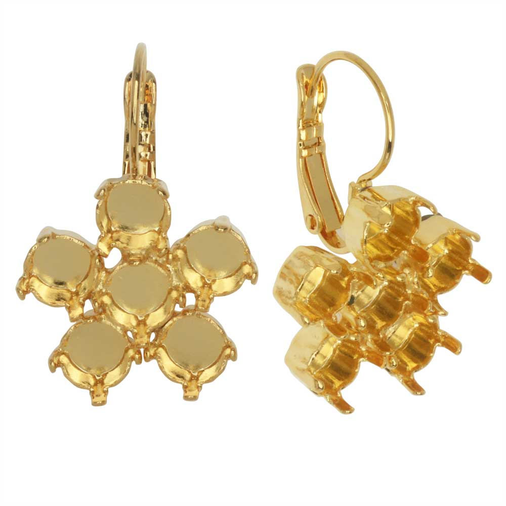 Gita Jewelry Setting for Swarovski Crystal, Flower Leverback Earrings for SS29 Chatons, Gold Plated