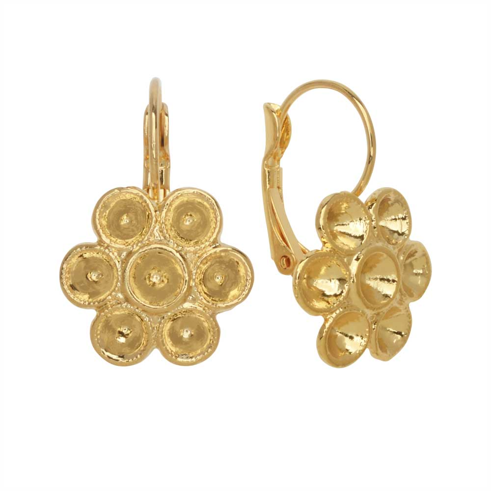 Gita Jewelry Setting for Swarovski Crystal, Flower Leverback Earrings for PP32 Chatons, Gold Plated