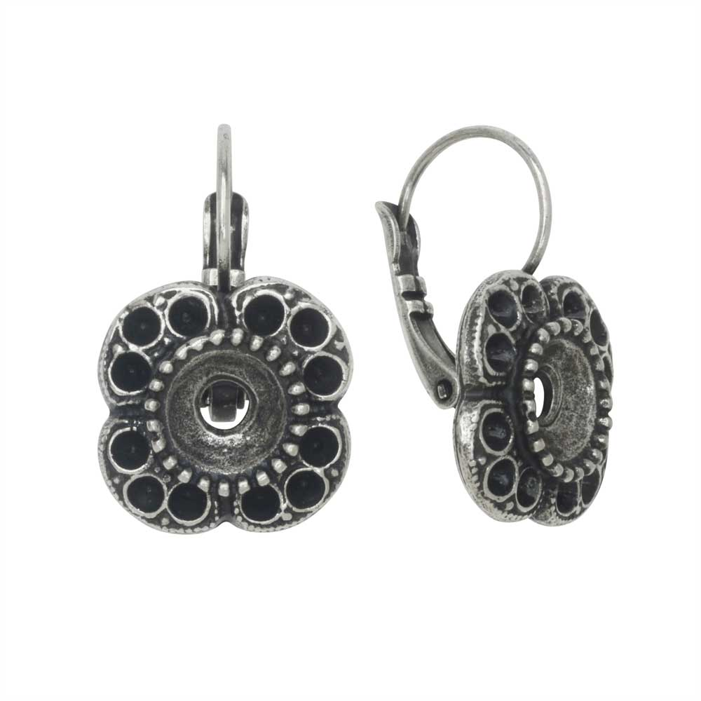Gita Jewelry Setting for Swarovski Crystal, Flower Earrings, PP14 & SS39 Chatons, Ant Silver Plt