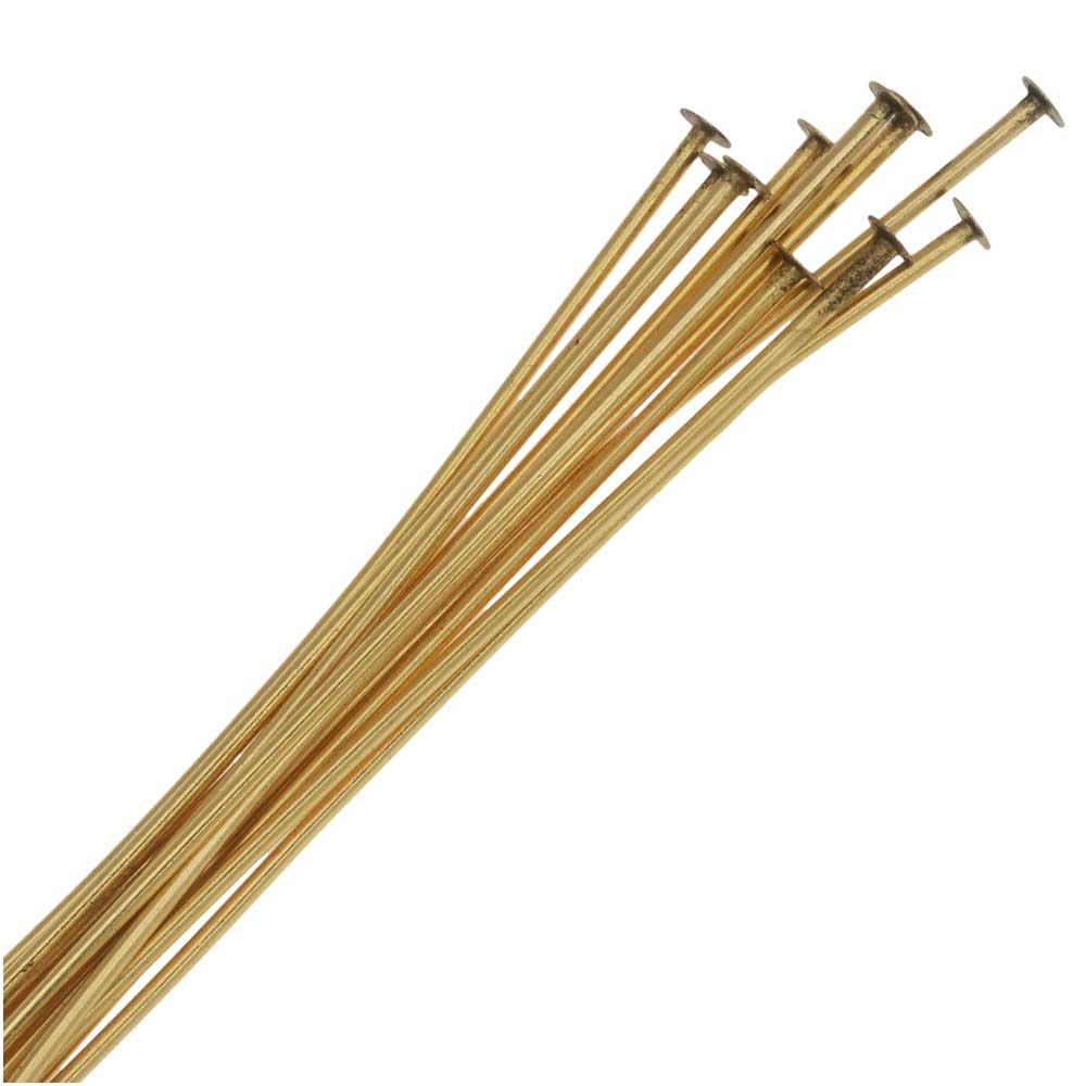 Nunn Design Headpin, Nail Head 2 Inch 20 Gauge, 10 Pieces, Antiqued Gold