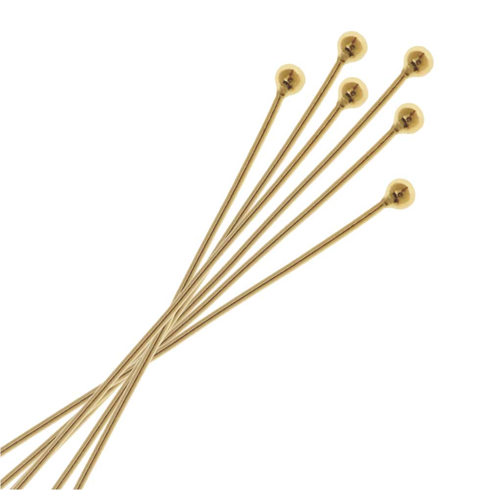 Head Pins, with Ball Head 1 Inch Long and 26 Gauge Thick, 6 Pieces, 14k Gold Filled