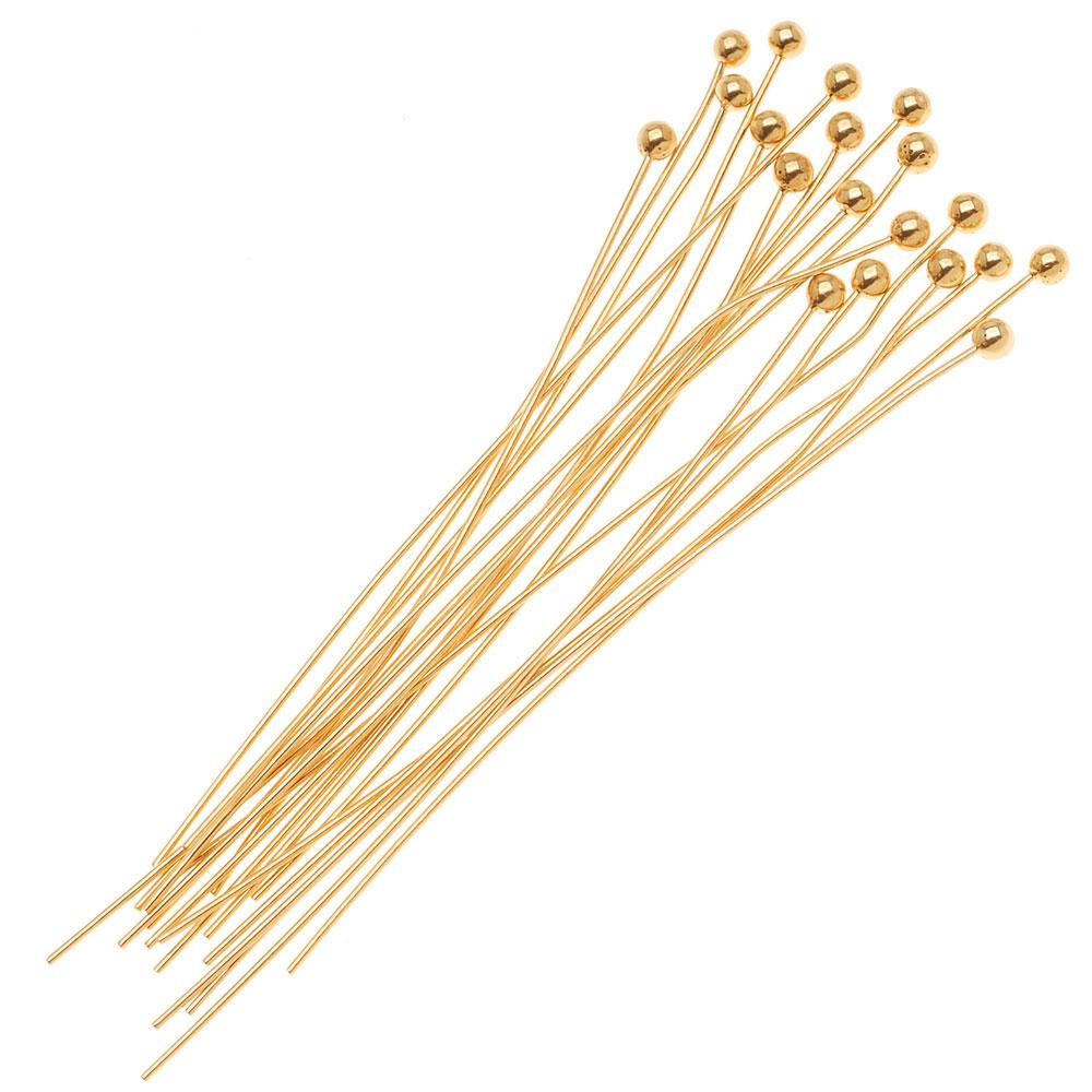 22K Gold Plated Ball Head Pins 24 Gauge 2 Inch (x20)
