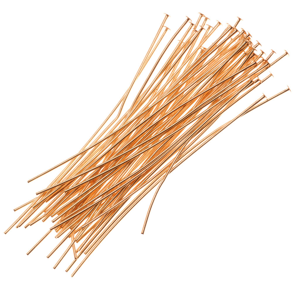 22K Gold Plated Head Pins - 2 Inches Long/24 Gauge Wide (50 Pieces)