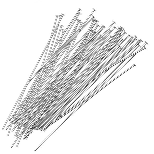 Head Pins, 1.5 Inches Long and 24 Gauge Thick, 50 Pieces, Silver Plated