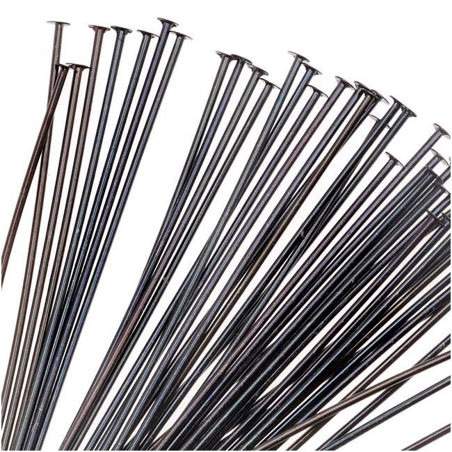 TierraCast Black Plated Brass Head Pins 2 Inches / 21 Gauge (x50)