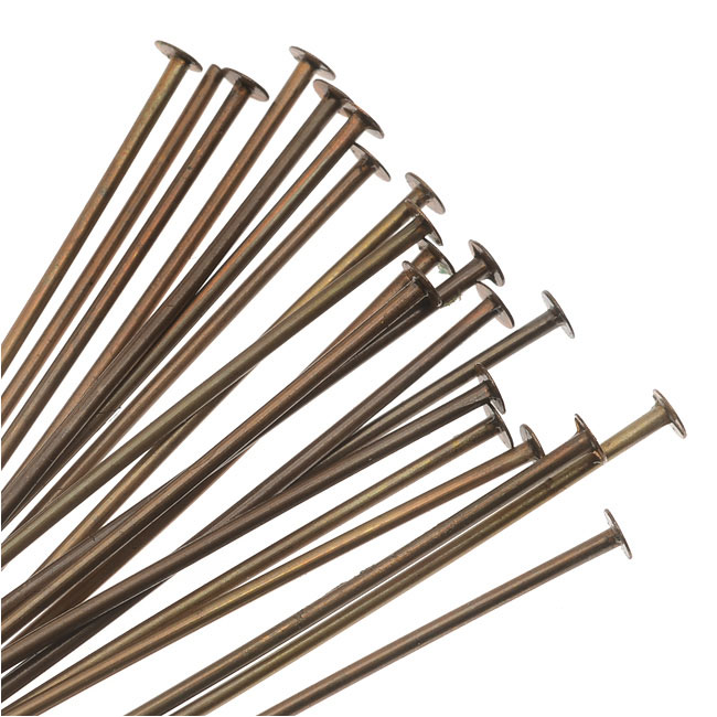 Vintaj Natural Brass, 1.5 Inch Head Pins 21 Gauge Thick, 20 Pieces