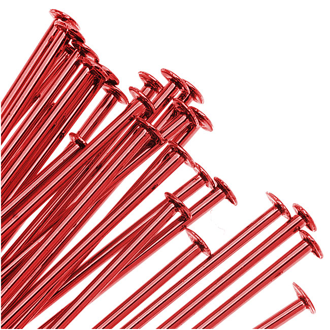 Bright Red Color Brass  - Head Pins 2 Inch 21 Gauge (25)