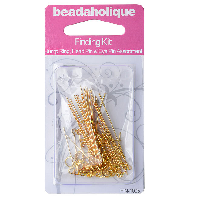 Final Sale - Gold Plated Findings Kit - Assorted Head Pins Eye Pins And Jump Rings