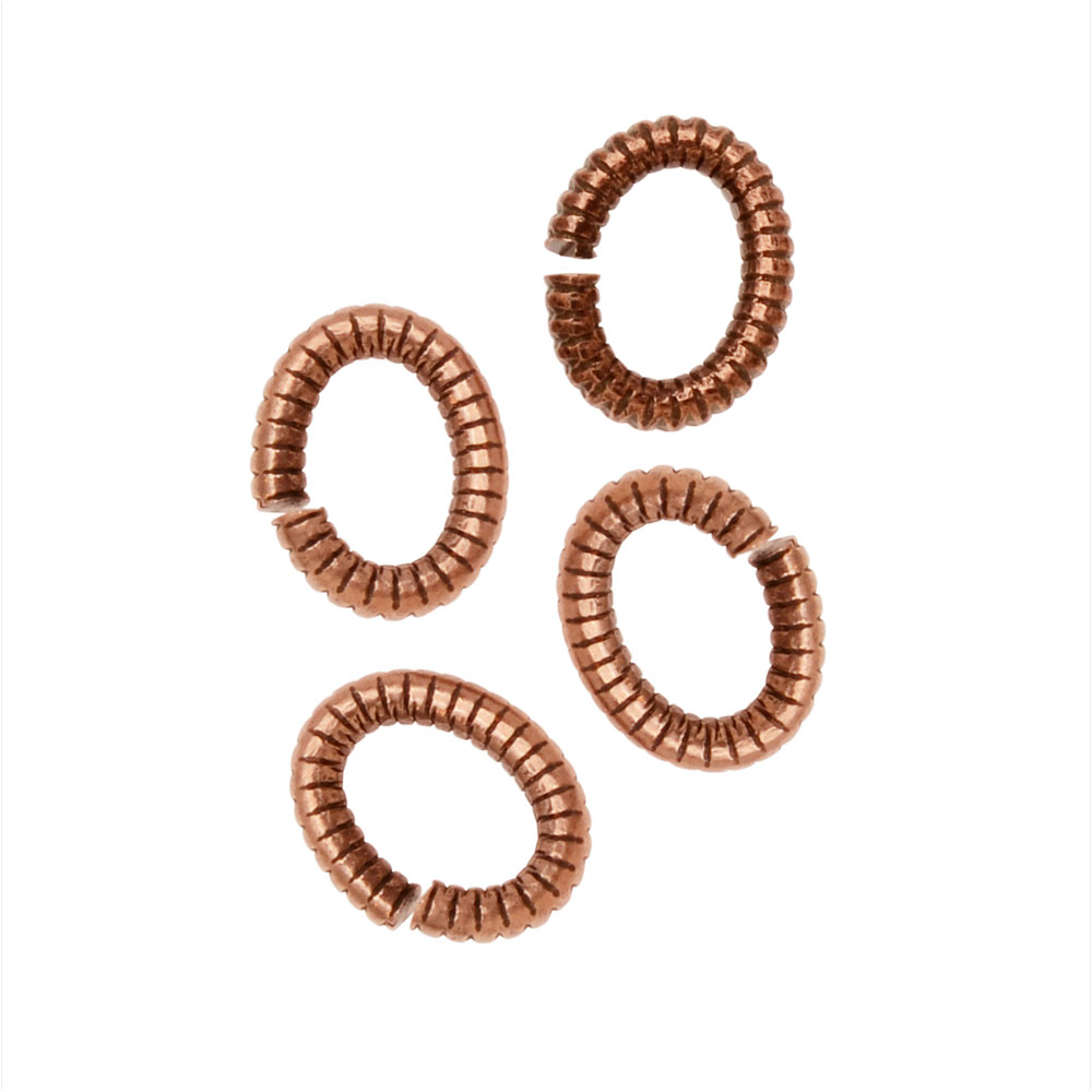 Jump Rings, Open Textured Oval 6x4.5mm, 10 Pieces, Antiqued Copper, by Nunn Design