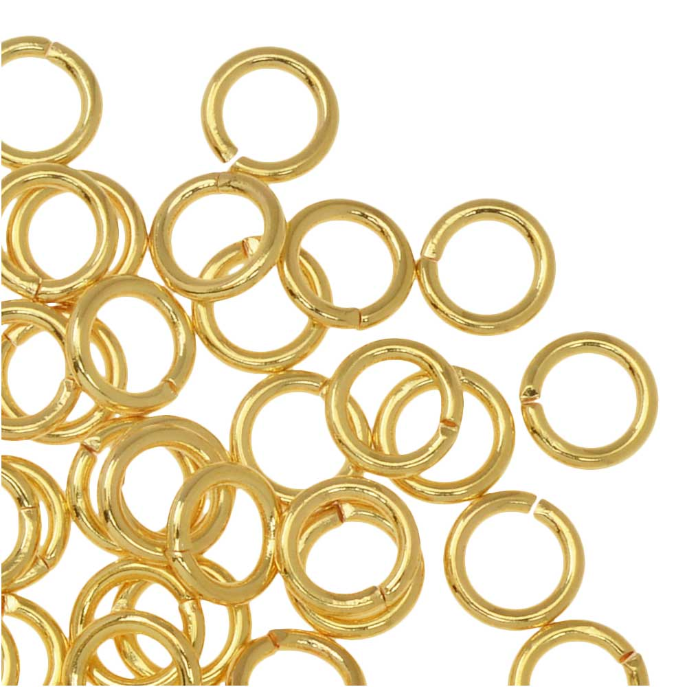 Jump Rings, Open 6mm Diameter 18 Gauge, 50 Pieces, Gold Plated