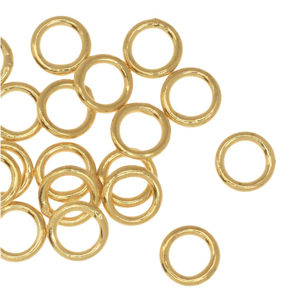 Jump Rings, Closed 6mm Diameter 18 Gauge, 20 Pieces, Gold Plated