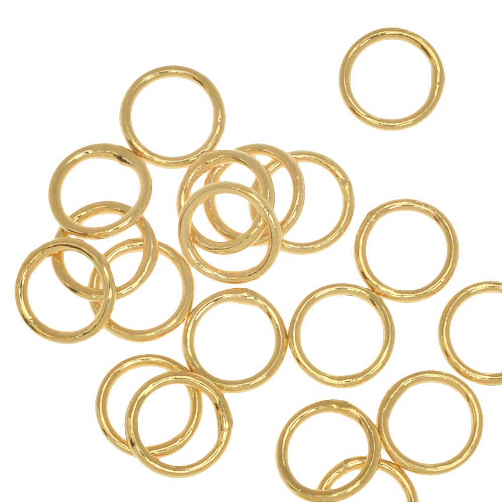 Jump Rings, Closed 6mm Diameter 20 Gauge, 20 Pieces, Gold Plated