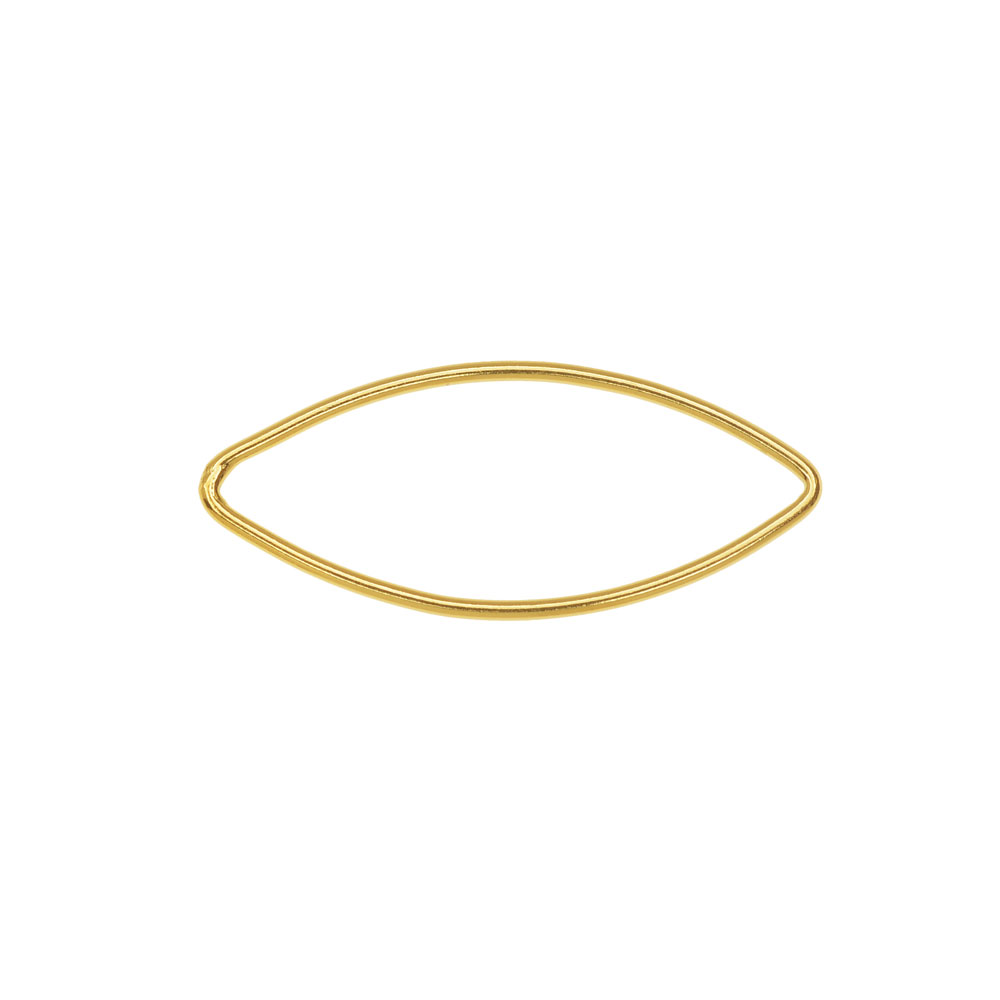 Marquise Link Component, Closed 18 Gauge Wire 29x12mm, 1 Piece, 14K Gold Filled