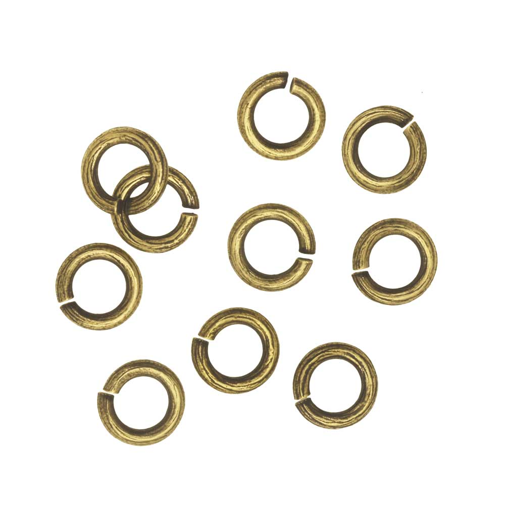 Nunn Design Jump Ring, Bark Textured Open 16 Gauge, 6.5mm, 10 Pieces, Antiqued Gold