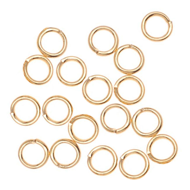 22K Gold Plated Open Jump Rings 4mm 21 Gauge (x100)
