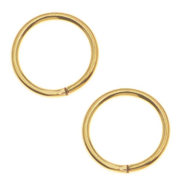 22K Gold Plated 8mm 18 Gauge Open Jump Rings (100)