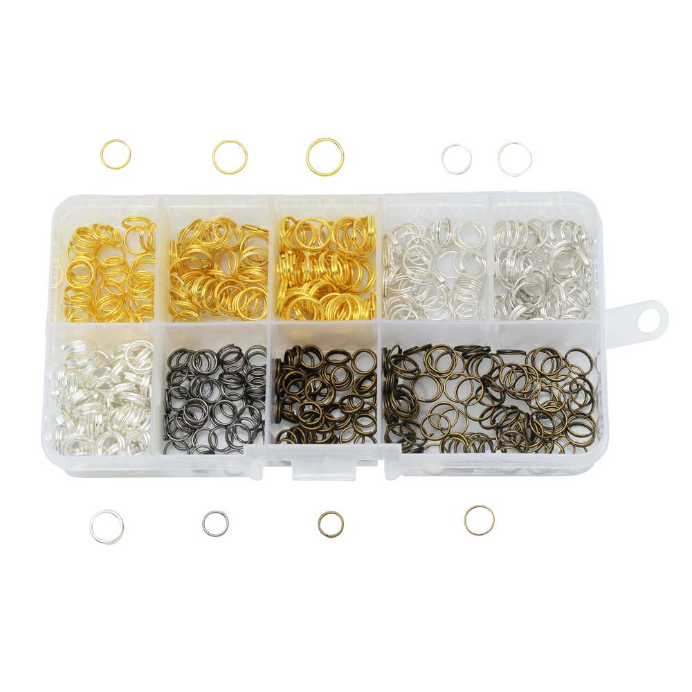 Beadaholique Basics, Split Ring Variety Pack, 500 Pieces, Assorted Finishes