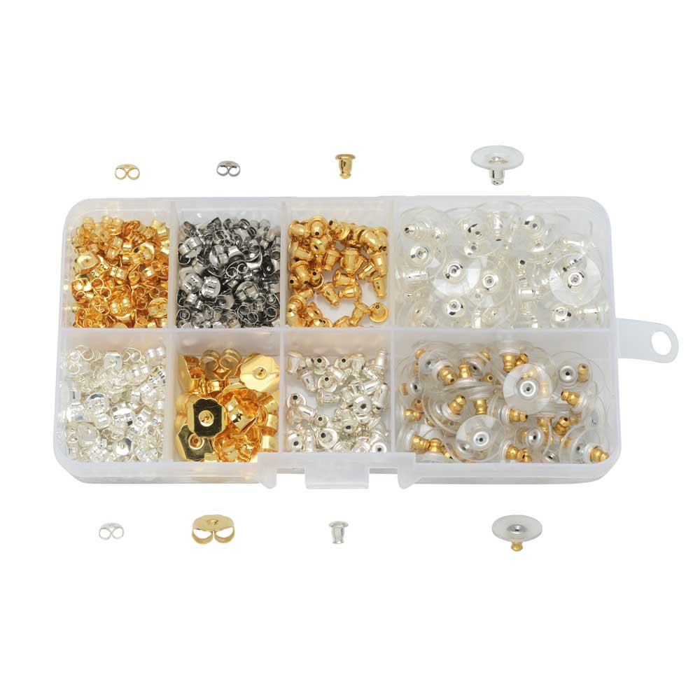 Beadaholique Basics, Earring Backs Variety Pack, 520 Pieces, Assorted Finishes