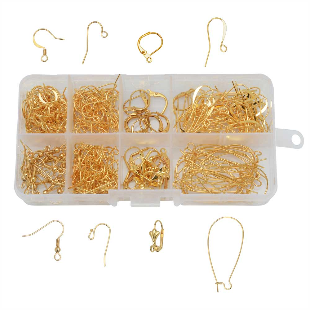 Beadaholique Basics, Earring Wire Variety Pack, 262 Pieces, Gold Plated