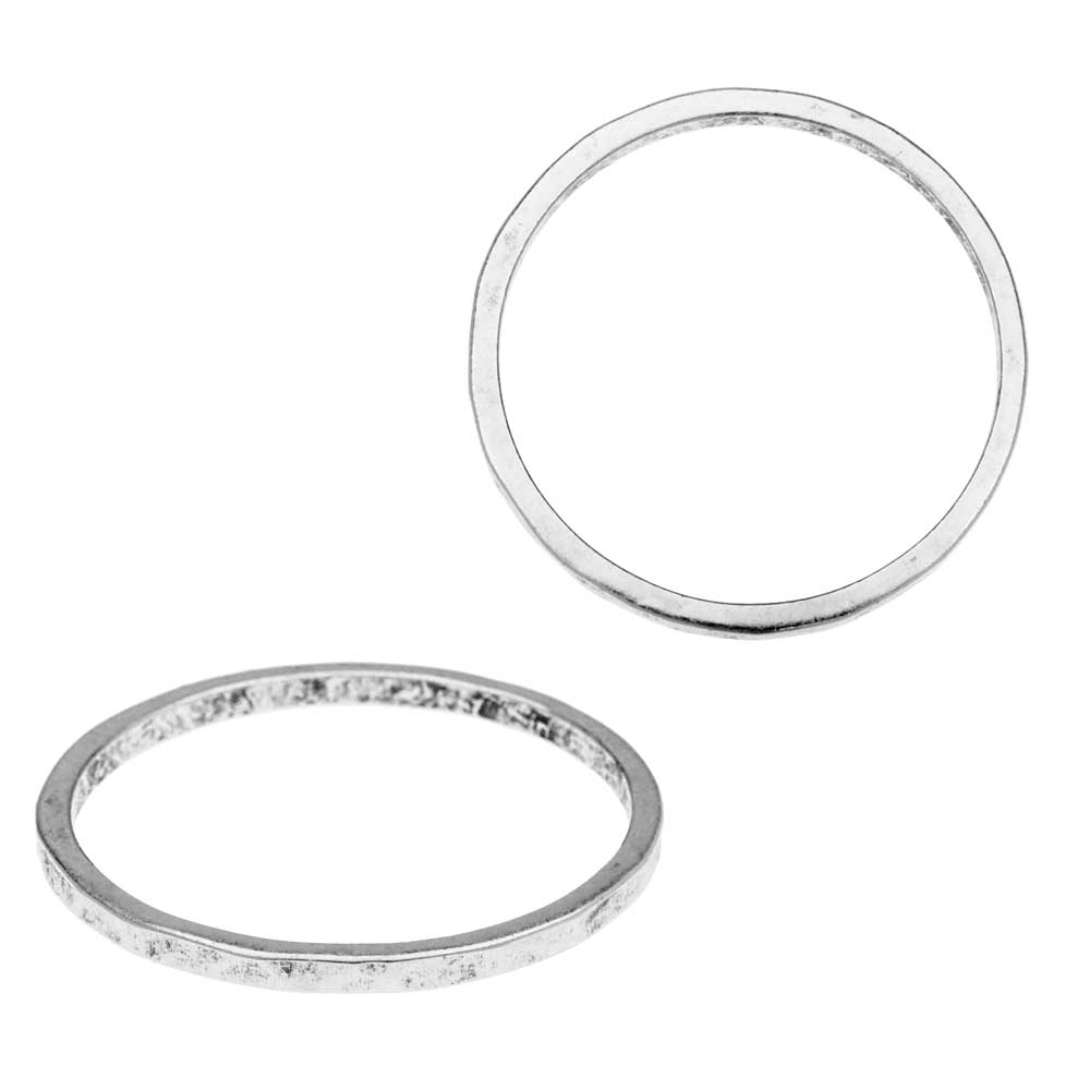 Nunn Design Ring, Hammered Thin Circle Size 7, 1 Piece, Antiqued Silver