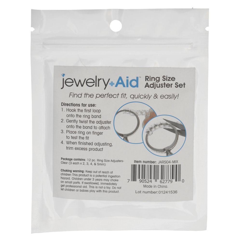 Jewelry Aid, Ring Size Adjusters 2mm 3mm 4mm 5mm, 1 Set, Plastic