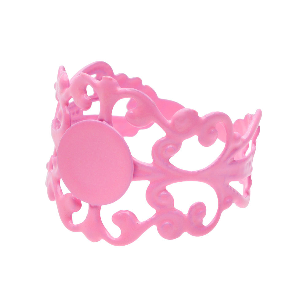 Baby Pink Color Coated Brass Glue On Adjustable Ring (1)