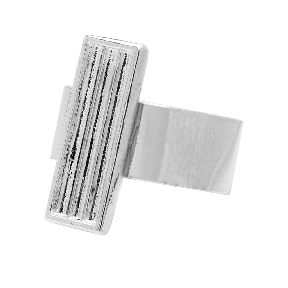 Final Sale - Elegant Elements, Adjustable Ring with 3-Strand Channeled Rectangle For Delica Seed Beads Rhodium