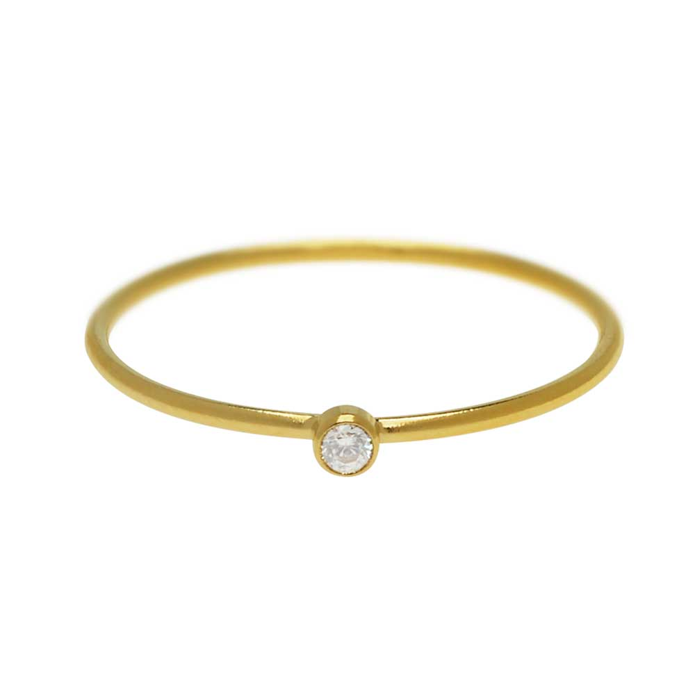 Final Sale - Stacking Ring with White Cubic Zirconia, 1mm Round Wire / US Size 7, 1 Piece, 14k Gold Filled