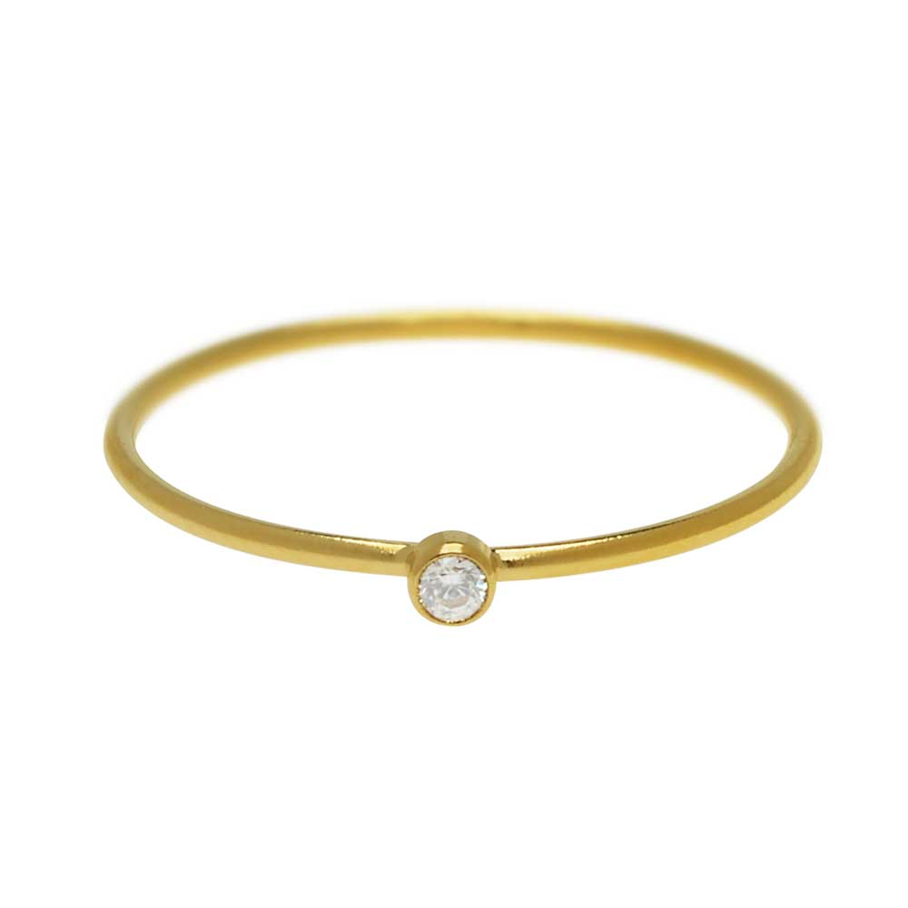 Final Sale - Stacking Ring with White Cubic Zirconia, 1mm Round Wire / US Size 8, 1 Piece, 14k Gold Filled