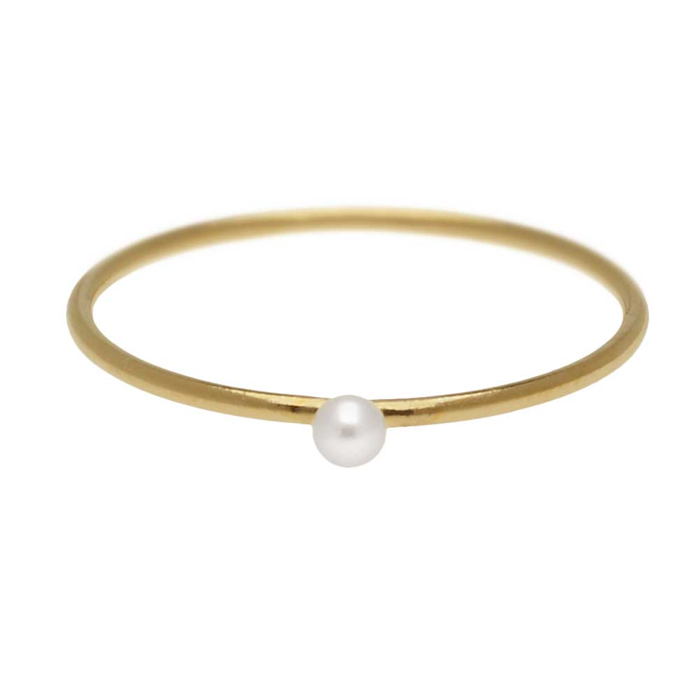 Final Sale - Stacking Ring with White Freshwater Pearl, 1mm Round Wire / US Size 6, 1 Piece, 14K Gold Filled