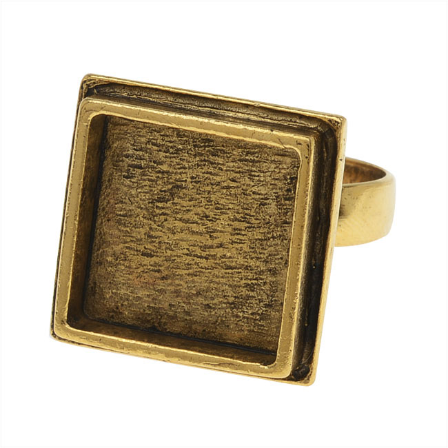 Nunn Design Adjustable Ring, 16mm Square, 1 Ring, Antiqued Gold