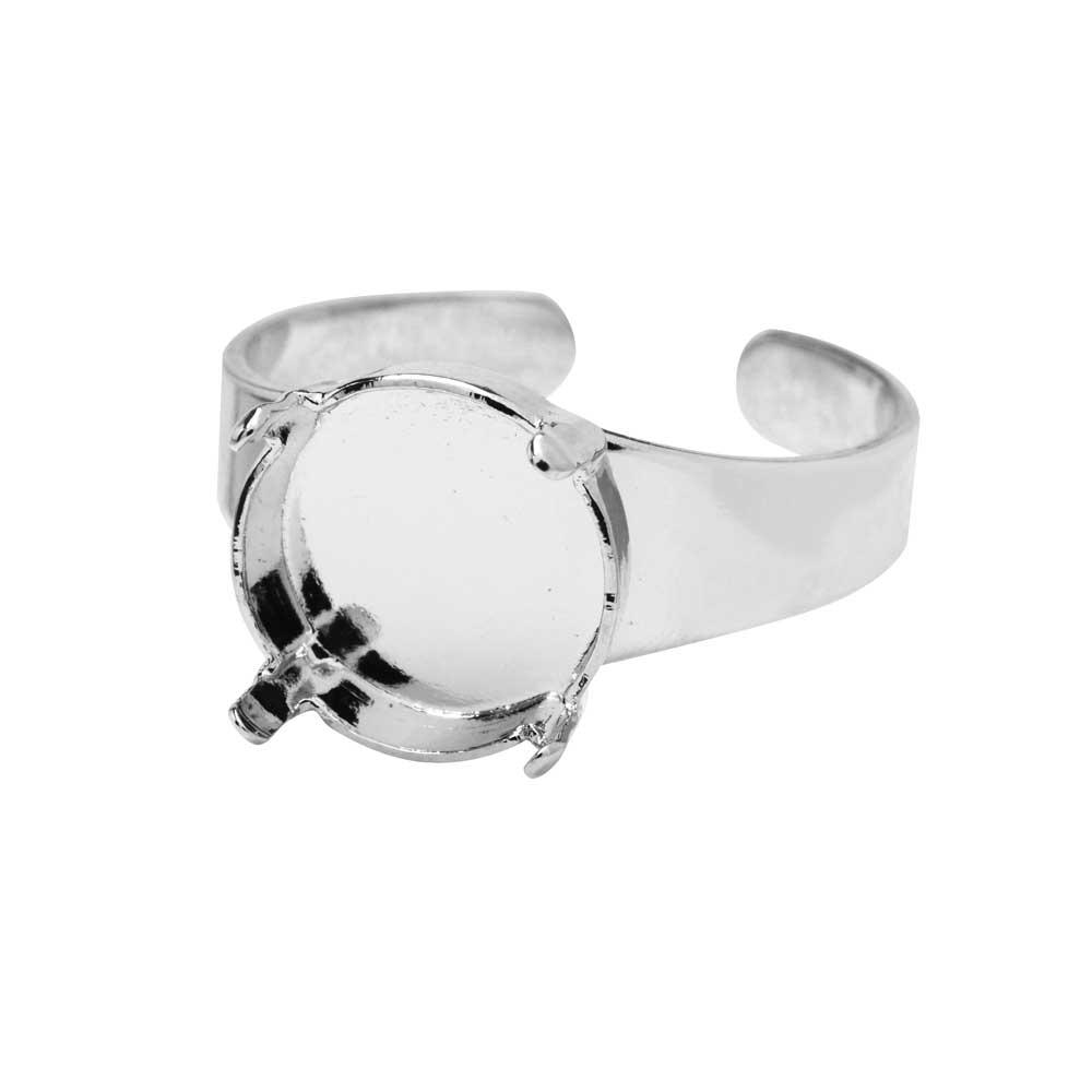 Gita Jewelry Stone Setting for Swarovski Crystal, Ring Base for 12mm Rivoli, 1 Piece, Rhodium Plated
