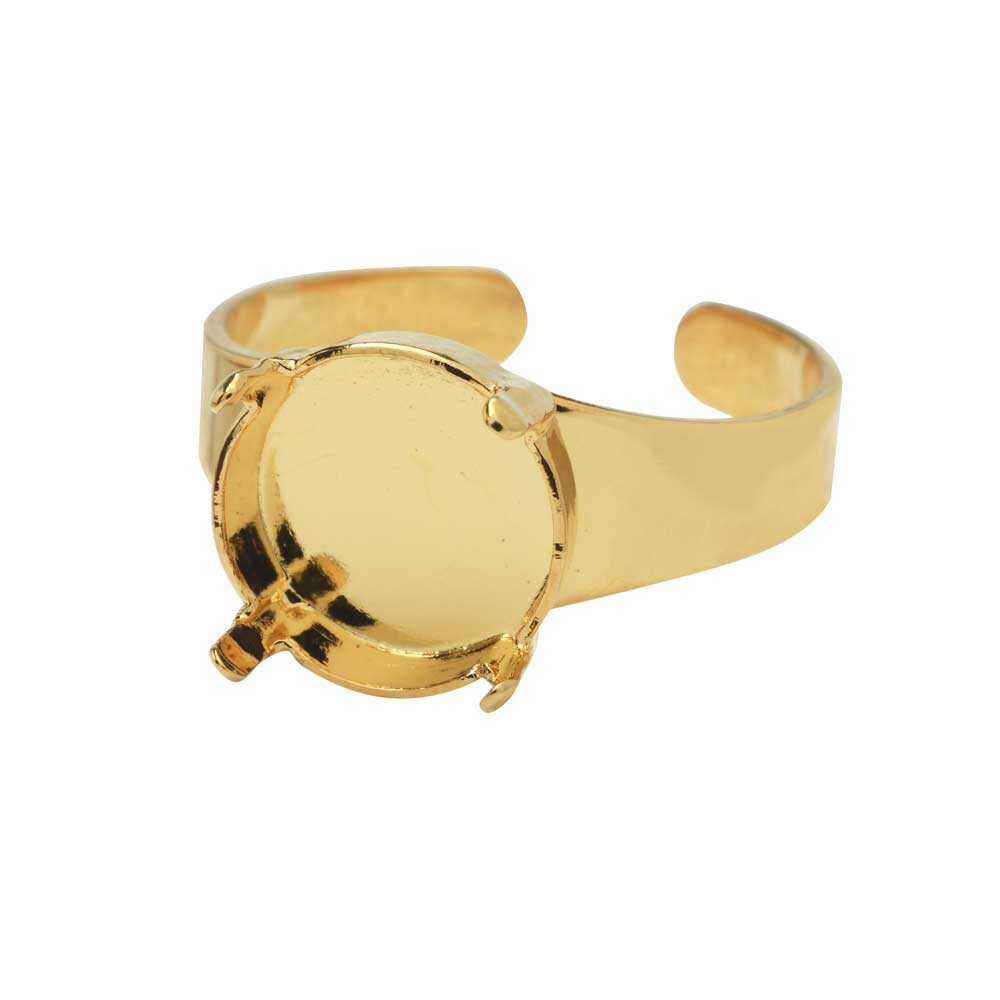 Gita Jewelry Stone Setting for Swarovski Crystal, Ring Base for 12mm Rivoli, 1 Piece, Gold Plated