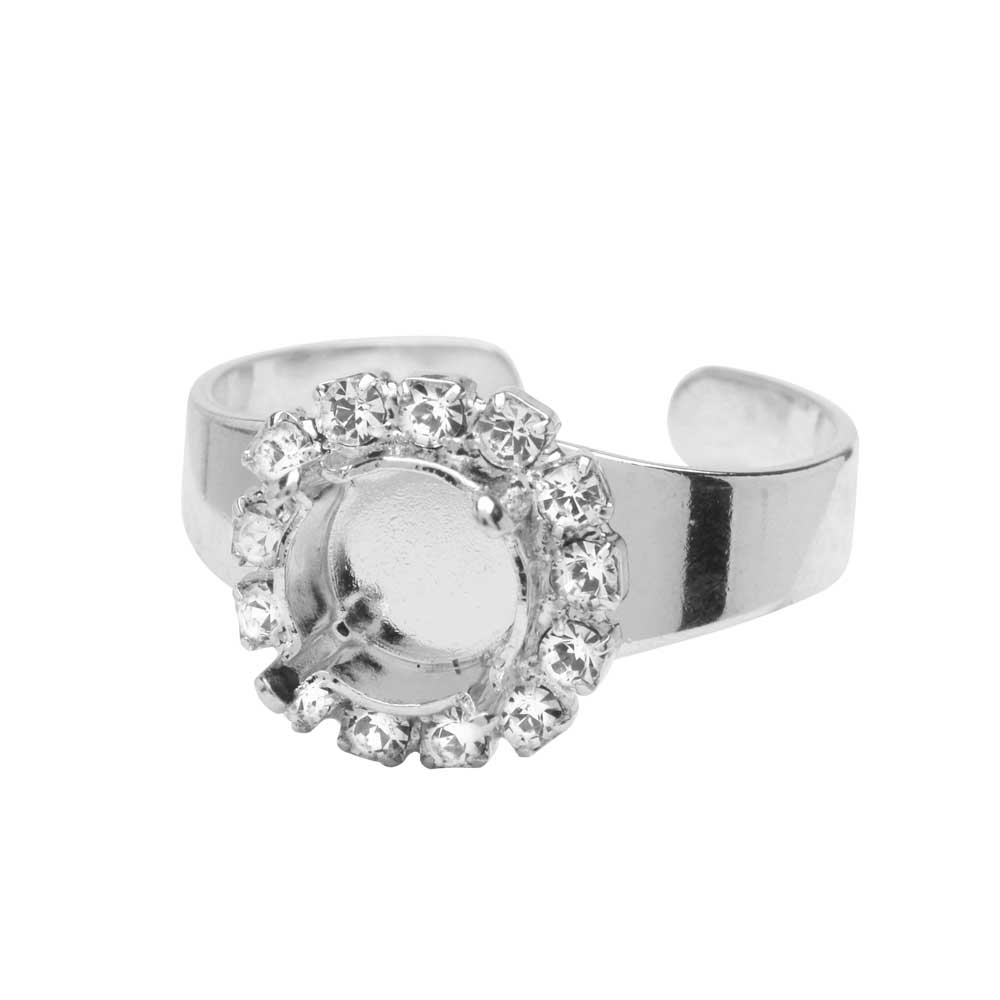 Gita Jewelry Setting for Swarovski Crystal, Ring Base for SS39 Chaton w/13 Crystals, Rhodium Plated
