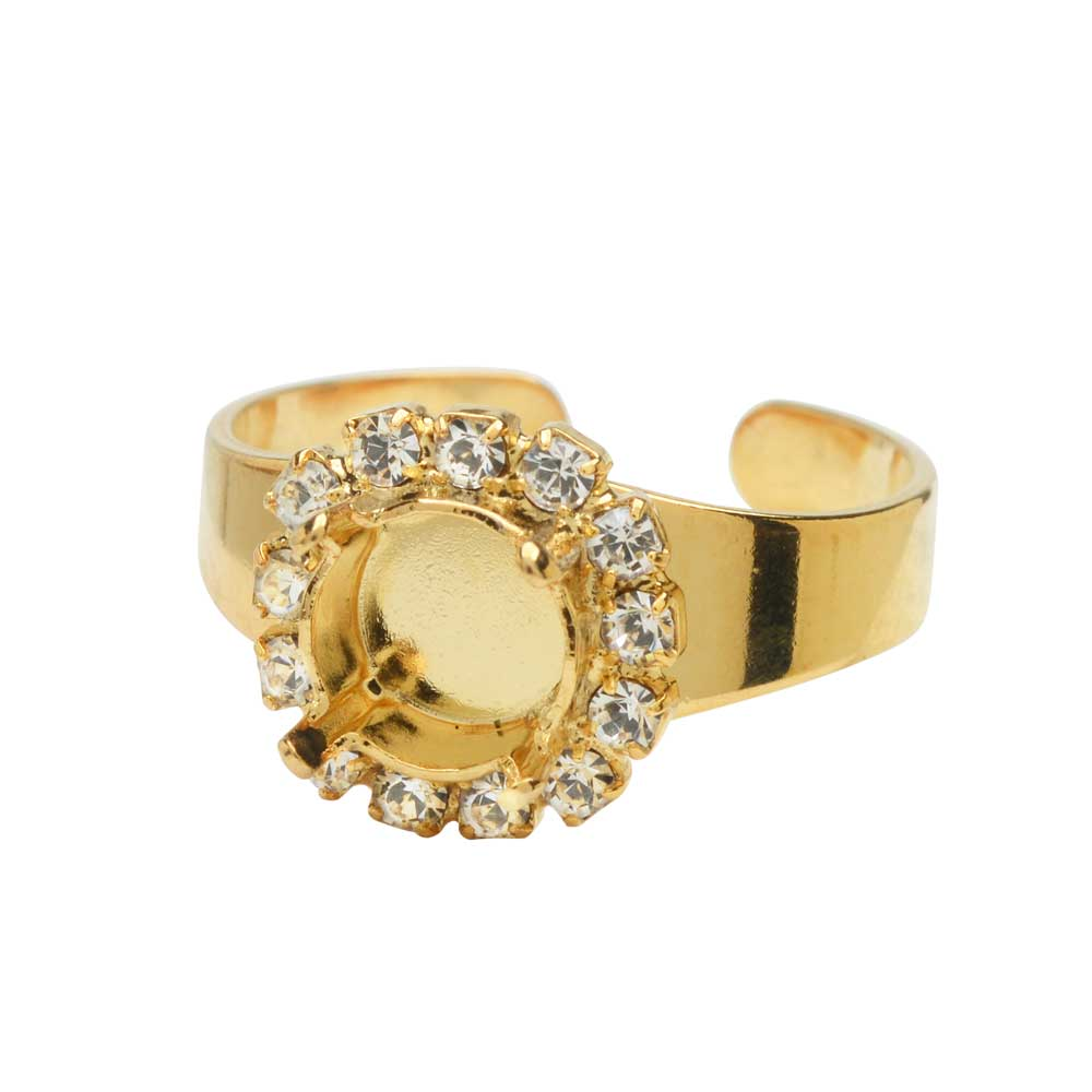 Gita Jewelry Setting for Swarovski Crystal, Ring Base for SS39 Chaton with 13 Crystals, Gold Plated
