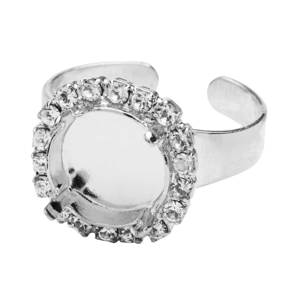 Gita Jewelry Setting for Swarovski Crystal, Ring Base for 12mm Rivoli w/18 Crystals, Rhodium Plated